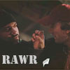 """everysecondtuesday: Murdock has curled his hand into a claw and is waving it at B.A. Text reads """"Rawr."""" (a-team: rawr)"""
