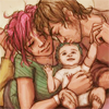dear_prudence: remus and tonks lupin kissing babt teddy (harry potter: the lupins)