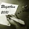 jennaria: Bloody hand writing with a quill, text 'blogathon 2010' (mystery)
