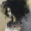 wishfulclicking: girl with big hair painted in greys (gen: girl big hair painting)