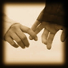 kerravonsen: a woman and a man's hand, barely touching (hands)