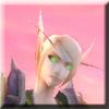 halialkers: Blonde elf with green eyes in armor, head looking up (Vani)