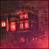 jordannamorgan: A building lit in red at Universal Studios Florida. (Haunted House)