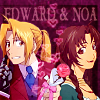 "jordannamorgan: Edward Elric and Noa, ""Fullmetal Alchemist"". (I ship 'em. Deal with it.) (FMA Ed/Noa)"