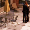 pipisafoat: mary & marshall (tv: in plain sight) hugging on the porch-roof at work (toy table)