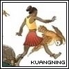 ext_3313: girl and animals skipping along a tree branch (brave, leap of faith, playful)