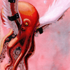 architeuthis: octopus flying by means of wings strapped to its tentacles (up)