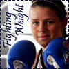 chomiji: Boxing champ Savannah Marshall, gloves raised, with the caption Fighting Weight (Fighting Weight - Savannah Marshall)