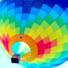 el_staplador: rainbow-coloured hot air balloon, looking upwards from the basket (balloon1)