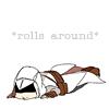 hostilecrayon: Altair rolling around (Rolls Around)