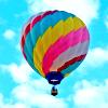 el_staplador: striped hot air balloon against cloudy blue sky (striped balloon)
