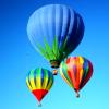 el_staplador: 3 hot air balloons against blue sky (blue balloons)
