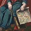 quillori: illustration of a seated figure holding a map (theme: travel (holding map), stock: travel (holding map))
