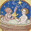 quillori: old illustration of two people in a bath (theme: indulgence, mood: pampered, subject: bath)