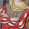 quillori: illustration of a woman with her arms crossed from an old French manuscript (mood: arms crossed)