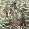 quillori: illustration of a ship sailing through rough seas (theme: boats (stormy), stock: sailing ship (stormy), subject: ship (stormy), mood: stormy)