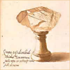 quillori: illustration of an interesting rock on a stand (subject: cabinet of curiosities)