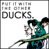 amaresu: Green Lantern walking away with a duck 'Put it with the other ducks.' (cractionary_ducks)