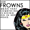 amaresu: Comic pic of Wonder Woman frowning 'Her frowns mean that something is going on in her head.' (cracktionar_frowns)