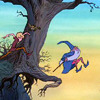 electra: Merlin jumps off a hill, watched by Arthur (leap of faith)