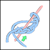 hooked_on_anime: Three chain stitches in blue yarn; pink crochet hook being maneuvered by green arrow into first stitch. (Starting from a chain)