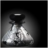 telesilla: a black, gray and white glass perfume bottle (perfume bottle)