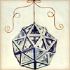 gavagai: A da Vinci sketch of a complex polyhedron suspended from a string (polyhedron bauble)