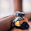 horusporus: A small WALL--E robot by a blurry window. (robottt)