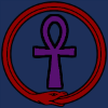 actionreaction: clip art of purple ankh in a red ouroboros on a blue background. ([symbols] ankh & ouroboros)