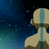 kate: Aang from behind, looking at a starry night. (AtLA: Aang meditating)
