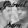 "gabrielsam: greyscale picture of Gabriel and Sam with the text: ""Gabriel Sam"" ([grey] default)"