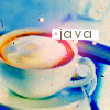 java: Soft-focus, cup coffee with foam on top and a text: java (Default)