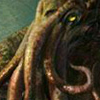 halialkers: Green octopus with yellow eyes, right profile view (He who dreams)