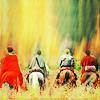 camelotremix: Morgana Gwen Arthur Merlin on horses from behind (merlin ot4 by rabidline)