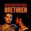 """vahinkoelain: Morgana and Gwen with text """"Wenches before brethren"""" (wenches before brethren)"""
