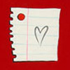 mayhap: a piece of notebook paper with a heart (*loves*)