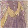 mayhap: hands clutched behind the back of a fancy purple dress (shy hands)