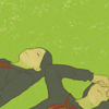 femfeb_prompt: slightly overcast day, two people lying on grass with eyes closed, one person rubbing face (2)