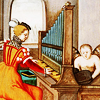 eva: an image from an old manuscript with a woman playing the organ and a small putto assisting (Default)