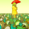 murklins: Child in a yellow slicker, holding a red umbrella, standing in a field of frogs. (frogs)