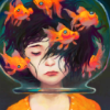 murklins: Shoulders-up view of black-haired girl with eyes shut and a sad mouth, her head in fishbowl, 6 goldfish swimming in it.  (my head is swimming)