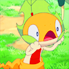 pkmntrainerrose: The Pokemon Scraggy wearing a large leaf around its neck, looking surprised about it. (wanda & pietro)