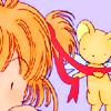 pkmntrainerrose: Kero tying Sakura's hair ribbon. (kero & sakura)