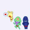 pkmntrainerrose: The Ojama Trio posing, Ojama Yellow making a kissy face. (ojama trio)