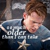 next_to_normal: Steve Rogers, looking down; text: so much older than I can take (Steve older)