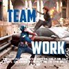 next_to_normal: Captain America giving Black Widow a boost; text: team work (teamwork)