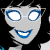 baltimere: Aranea Serket from Homestuck, a girl with blank white eyes, glasses, gray skin, black hair, and a blue dress (Default)