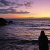 ofearthandstars: Me facing sunset at the ocean in Maui (sunset at Makena)