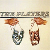 dorinda: Two hands, one dangling a silver Comedy mask and one dangling a gold Tragedy mask, under the words THE PLAYERS. (Sting_players)
