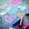ofearthandstars: Colorfully drawn hearts in sidewalk chalk. (chalk hearts)